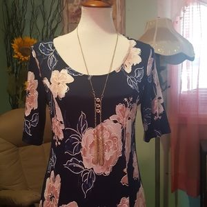 Spring summer midi dress Navy blush medium